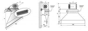 Vratová clona BARERA - elektrický dohřev - rozměry
