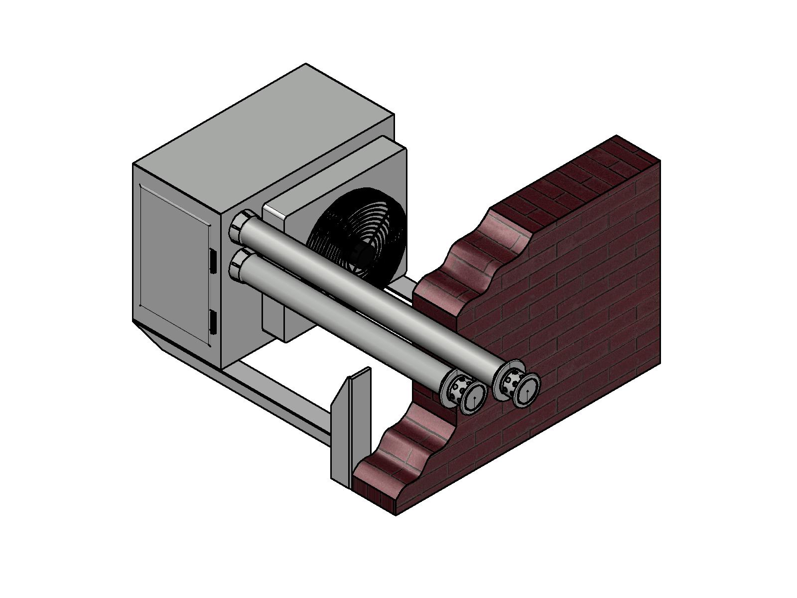 Modelová instalace - odtah spalin u plynového ohřívače vzduchu