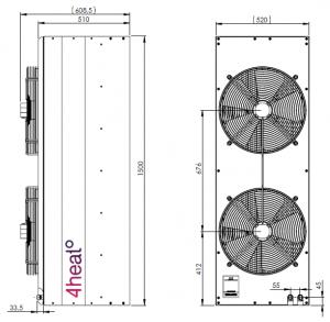 Vratová clona BARERA AW teplovodní ohřev - dveřní clona, rozměry